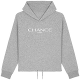 Chance Paris Women Cropped Hoodie White Embroidered Logo
