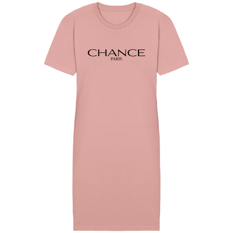 Chance Paris Women T-Shirt Dress Black Embroidered Logo