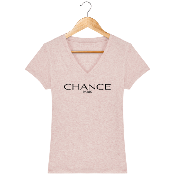 Chance Paris Women V Neck T-Shirt Black Embroidered Logo