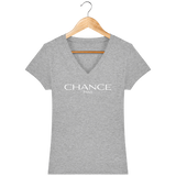 Chance Paris Women V Neck T-Shirt White Embroidered Logo