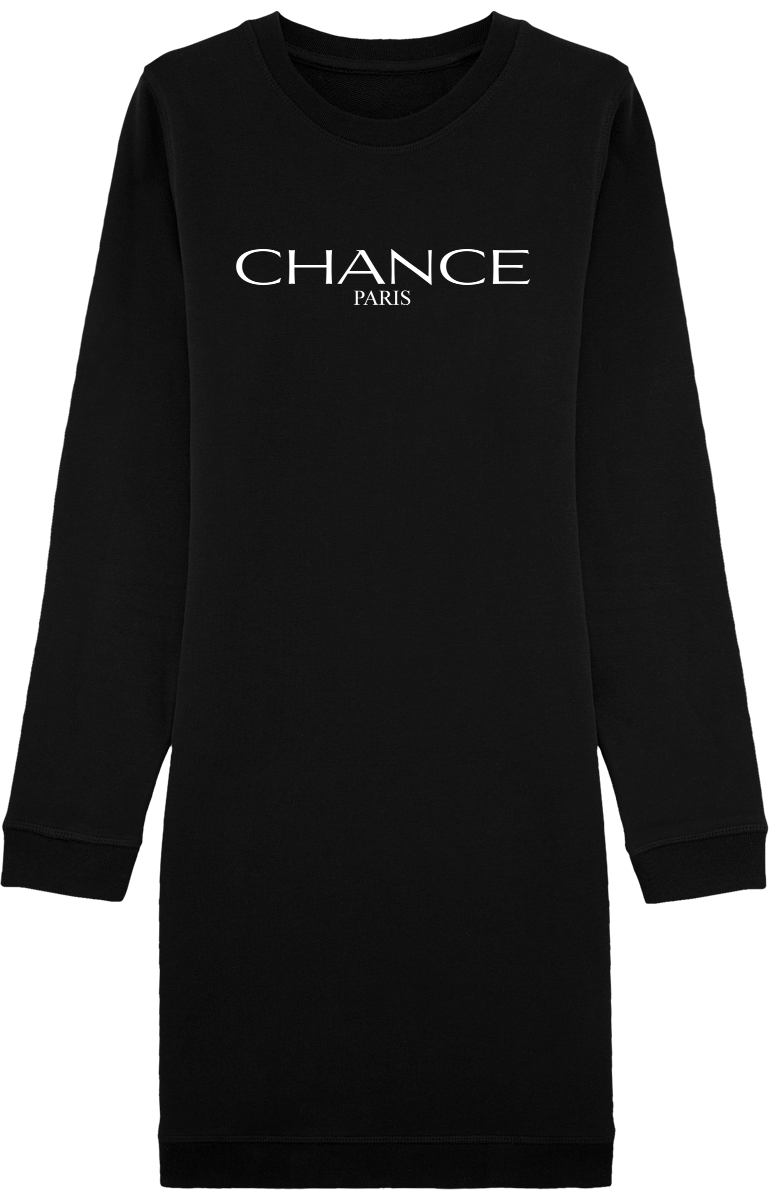 Chance Paris Women Sweatshirt Dress Long Sleeve White Embroidered Logo