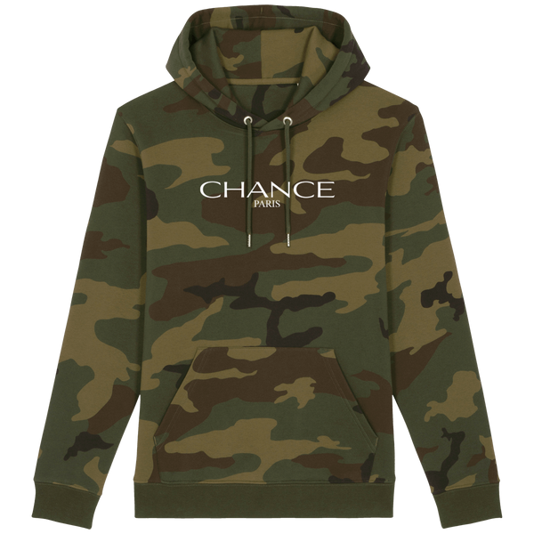 Chance Paris Men Medium Fit Camo Hoodie White Embroidered Logo