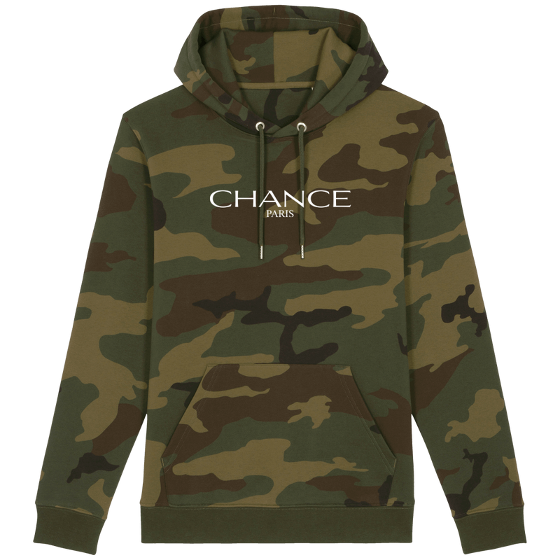 LIMITED EDITION Chance Paris Men Medium Fit Camo Hoodie White Embroidered Logo