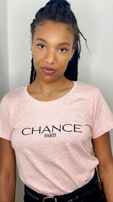 Chance Paris Women Fitted T-Shirt Black Embroidered Logo