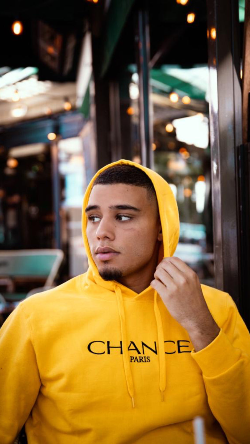 Chance Paris Men Hoodie Black Embroidered Logo