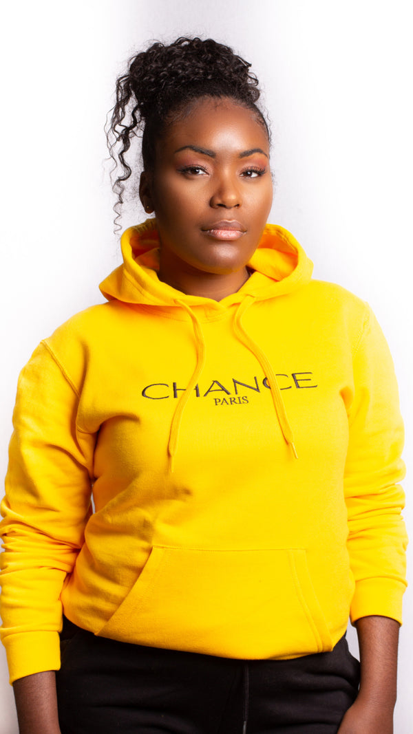Chance Paris Women Hoodie Black Embroidered Logo
