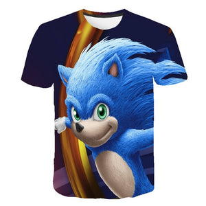 Summer Short Sleeve 3D Cartoon Printed sonic the hedgehog T Shirt