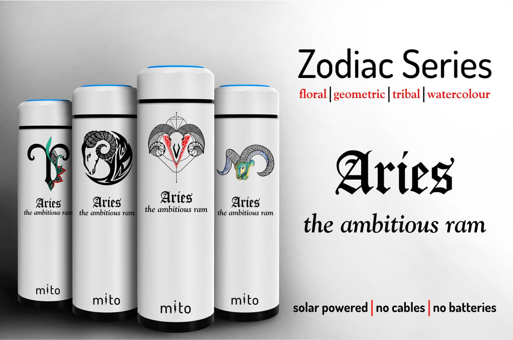 Mito Solar Powered Water Bottles - Zodiac Aries