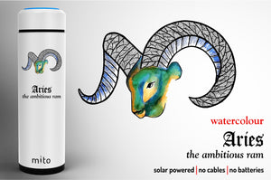 Mito Solar Powered Water Bottles - Zodiac Aries Watercolour