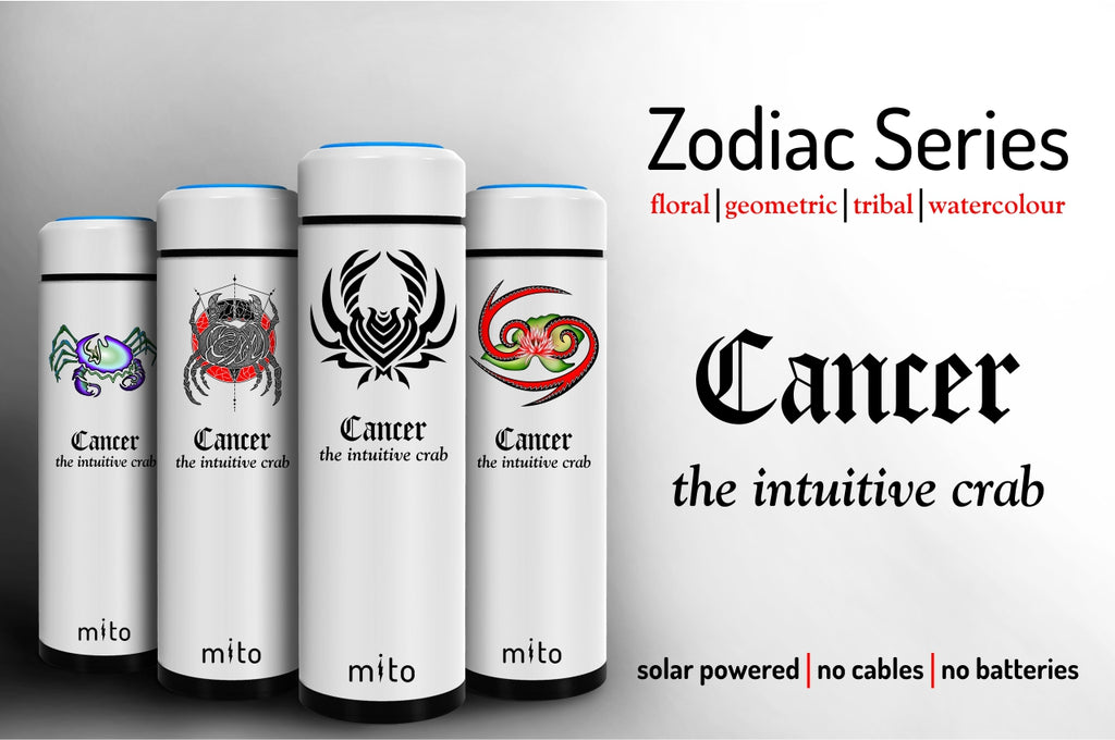 Mito Solar Powered Water Bottles - Zodiac Cancer