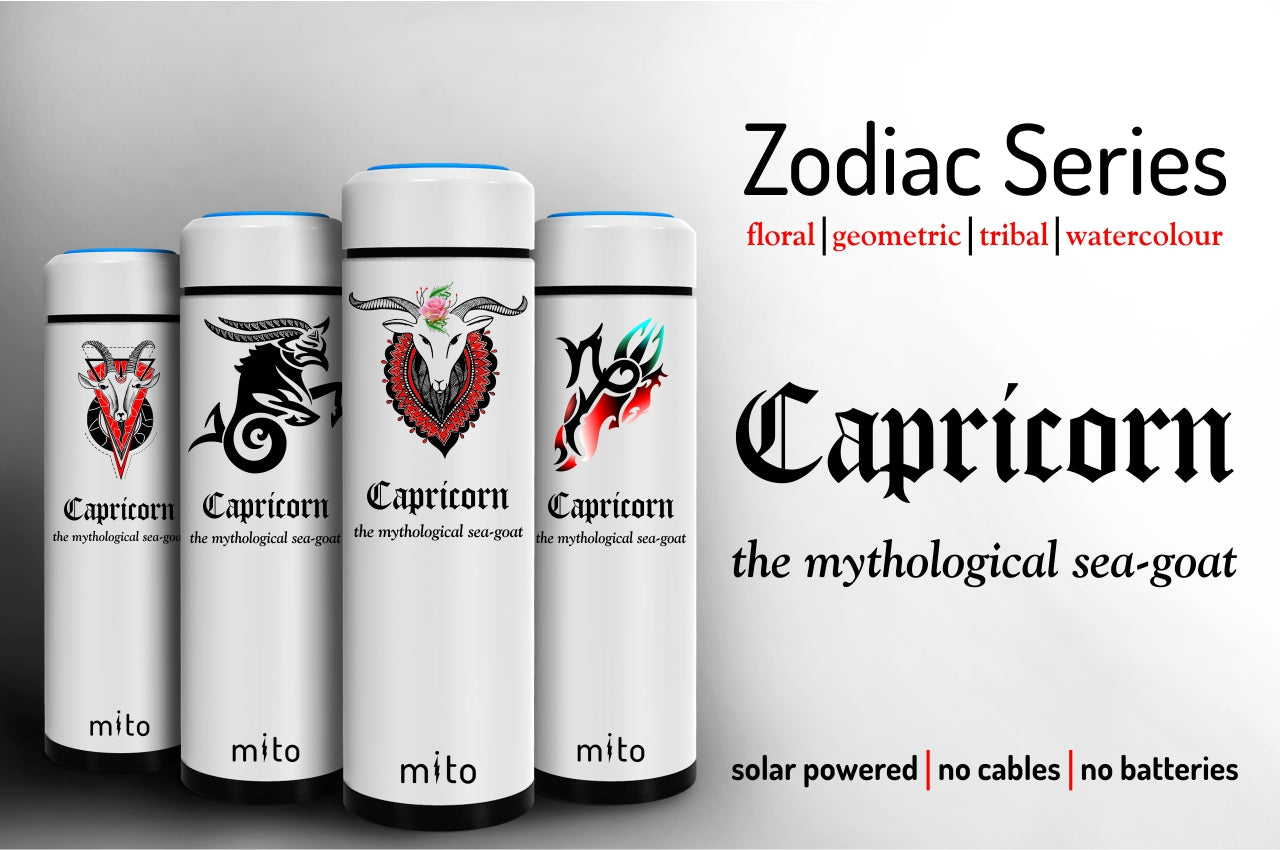 Mito Solar Powered Water Bottles - Zodiac Capricorn