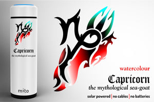 Mito Solar Powered Water Bottles - Zodiac Capricorn  Watercolour