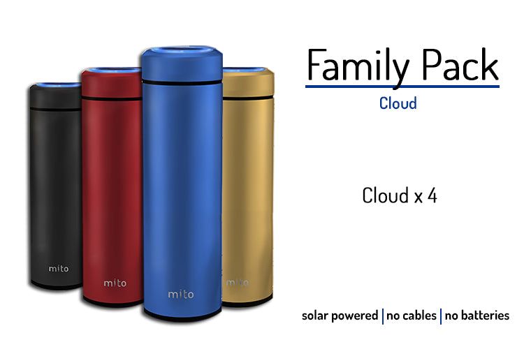 Mito Solar Powered Smart Water Bottles - Family Pack feature 4 Mito Cloud