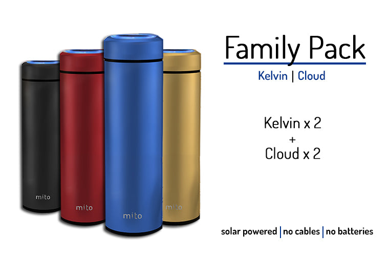 Mito Solar Powered Smart Water Bottles - Family Pack feature 2 Kelvin and 2 Cloud