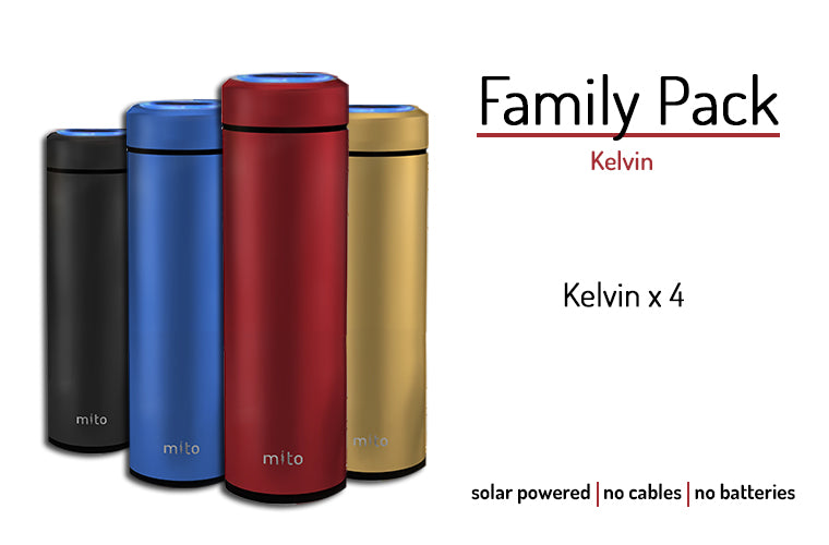 Mito Solar Powered Smart Water Bottles - Family Pack featuring 4 Kelvin