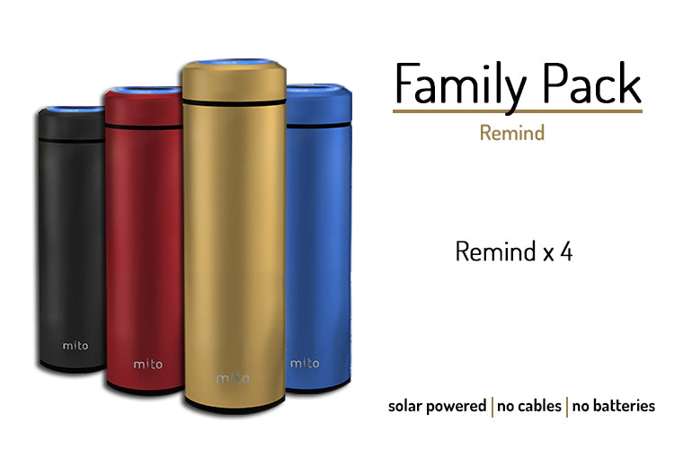 Mito Solar Powered Smart Water Bottles - Family  Pack featuring 4 Remind
