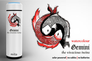 Mito Solar Powered Water Bottles - Zodiac Gemini Watercolour