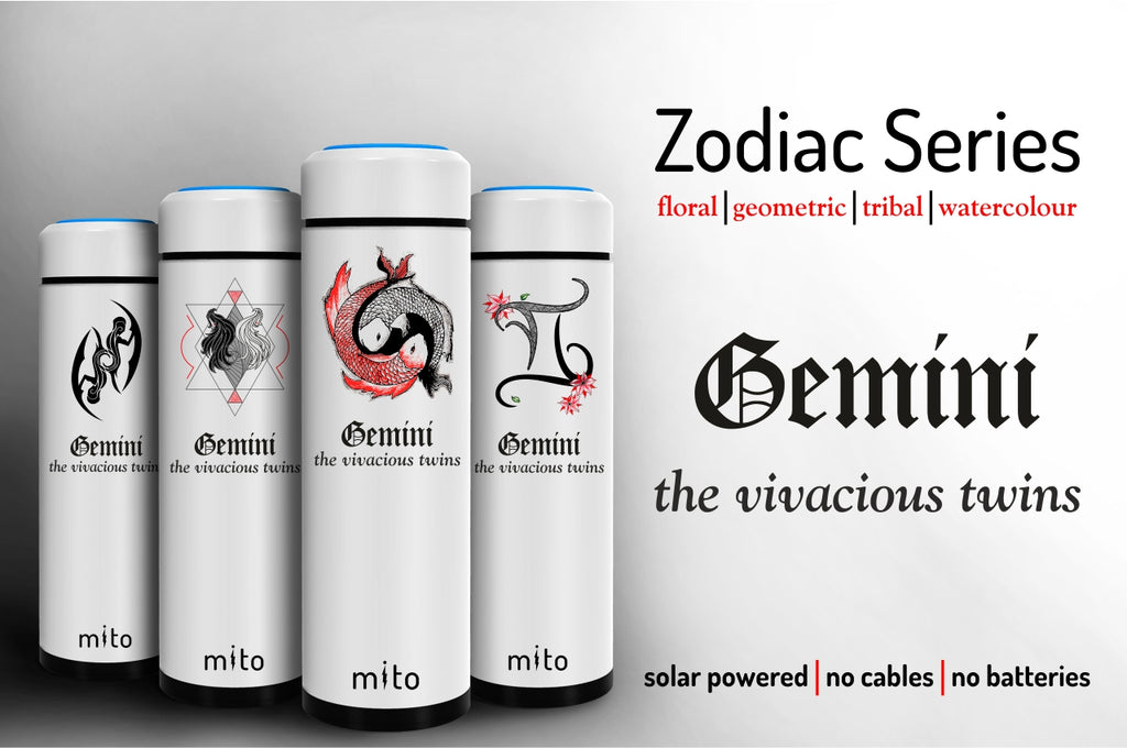 Mito Solar Powered Water Bottles - Zodiac Gemini