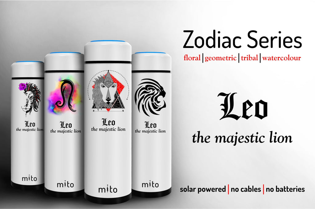 Mito Solar Powered Water Bottles - Zodiac Leo