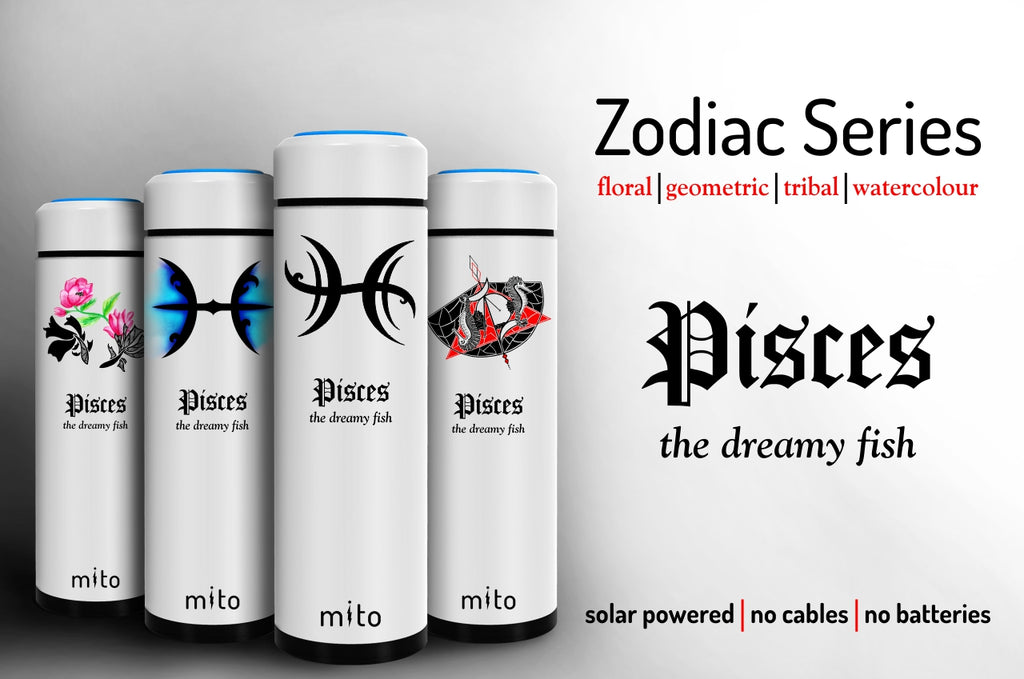 Mito Solar Powered Water Bottles - Zodiac Pisces