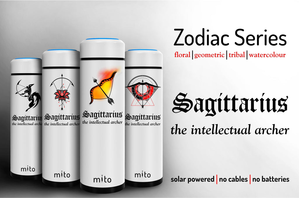 Mito Solar Powered Water Bottles - Zodiac Sagittarius