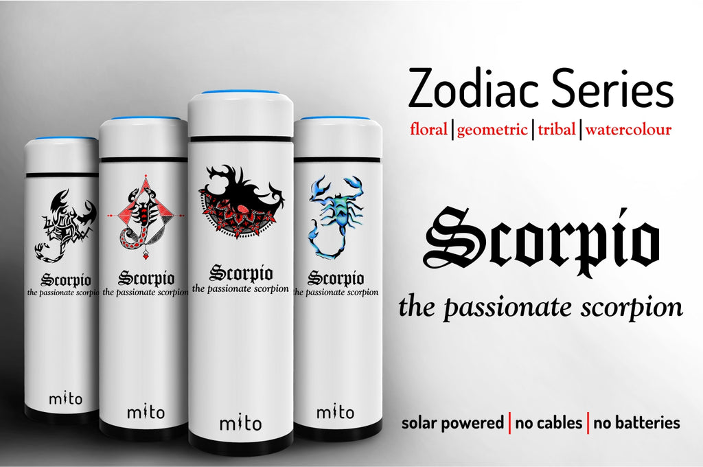 Mito Solar Powered Water Bottles - Zodiac Scorpio