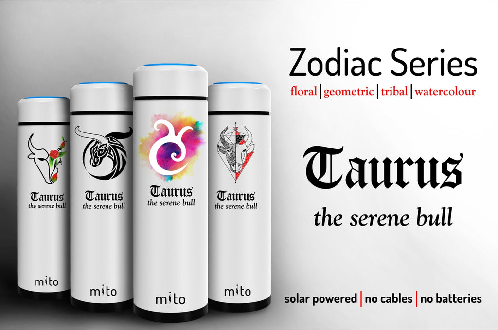 Mito Solar Powered Water Bottles - Zodiac Taurus