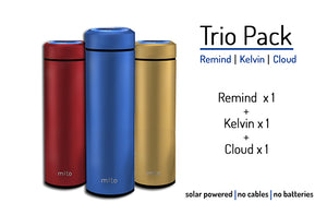 Mito Solar Powered Smart Water Bottles - Trio  Pack featuring 1 Remind, 1 Kelvin and 1 Cloud - Maroon, Blue, Gold