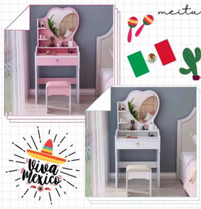 016 Heart Dressing Table Stool Bedroom Vanity Set Makeup Drawer Lock Desk with Mirror Multi-Function