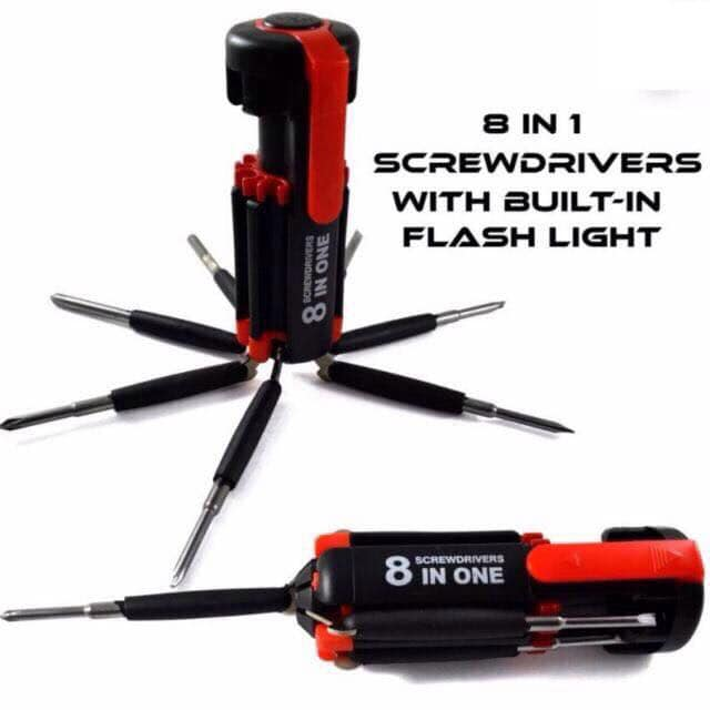 8 in 1 Screwdriver Set with LED Torch light