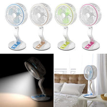 Load image into Gallery viewer, Rechargeable USB Folding Electric Fan With LED Light