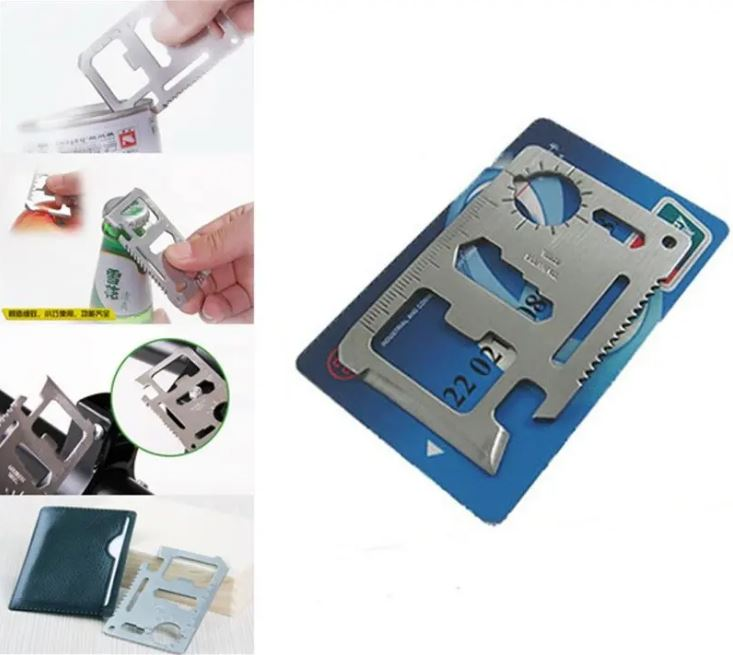 Portable Multitool Carbon Steel Tool Knife Card Bottle Opener Saw Ruler Slotted Screwdriver Wrench Multi Camping Hand Tool Card