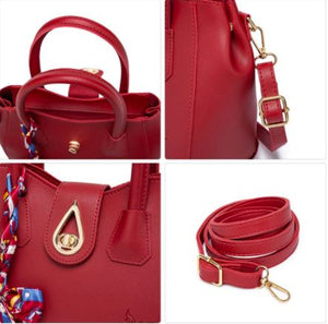 Korean Leather Water Anti Drop Buckle Sling Shoulder Bag With Scarf