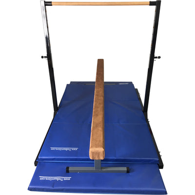 Front View of High Beam and Advanced Elite Training High Bar Combo w/ mats