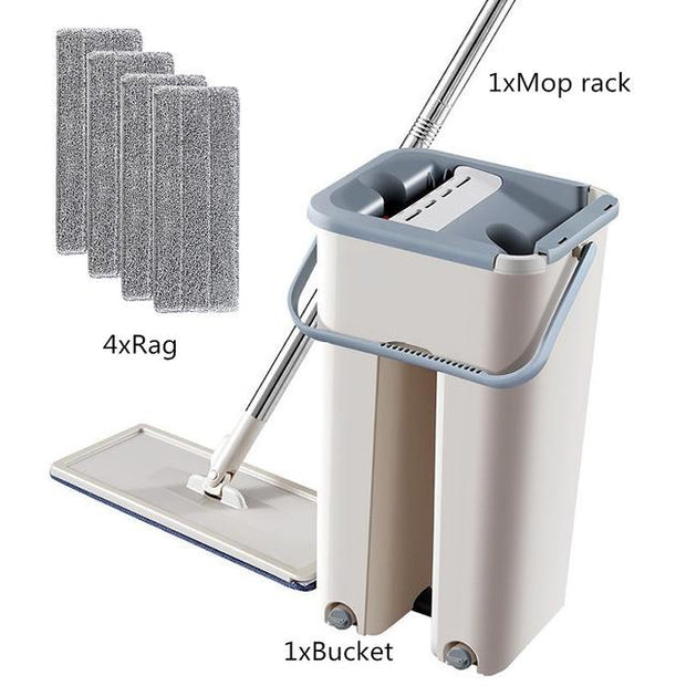 4 in 1 Multi-functional Hands-Free Mop wowstore 4 Rag Set