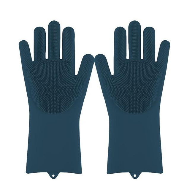 Magic Silicone Dishwashing Gloves wowstore Deep Blue