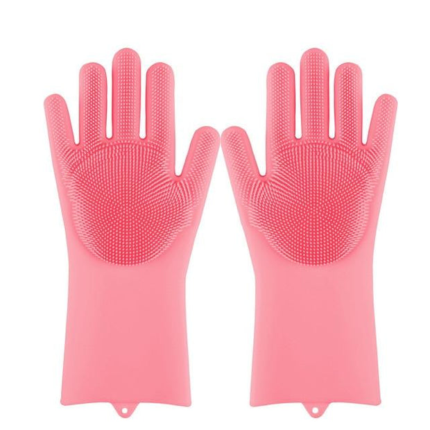 Magic Silicone Dishwashing Gloves wowstore Pink