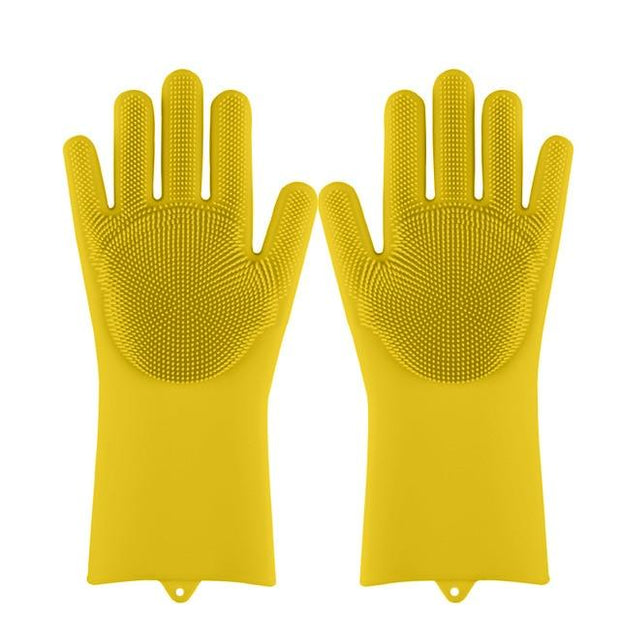 Magic Silicone Dishwashing Gloves wowstore Yellow