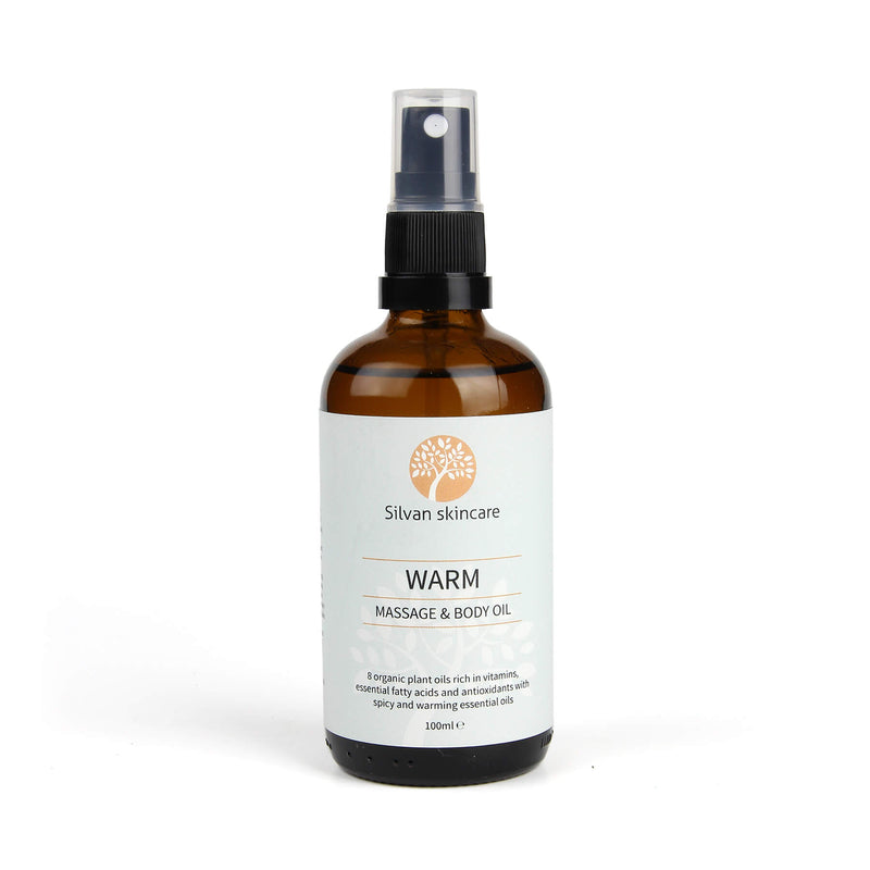 Silvan Skincare Warm Body Oil with spicy and warming essential oils to ease fatigue, tight muscles and joints.