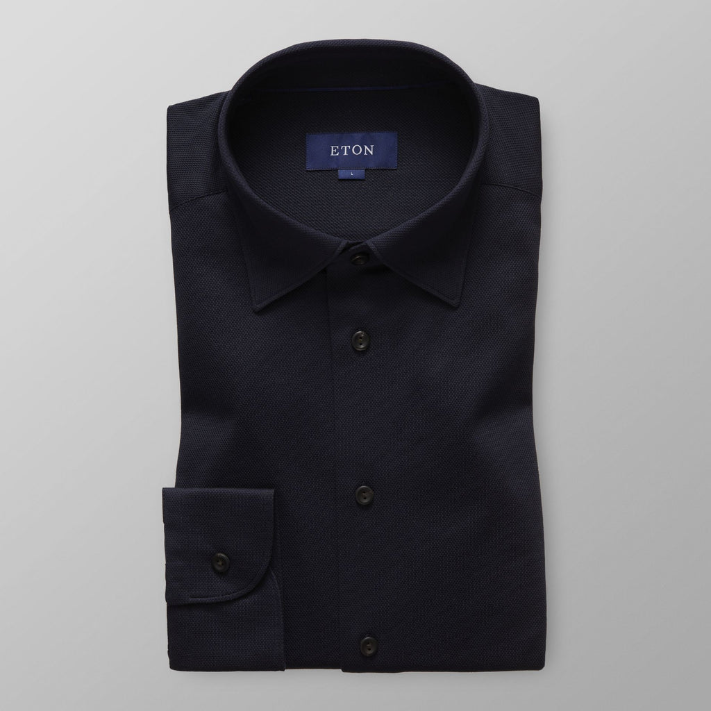 Navy Long Sleeve Pique Polo Shirt