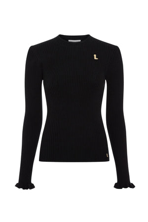 Sanne Black Ribbed Pullover