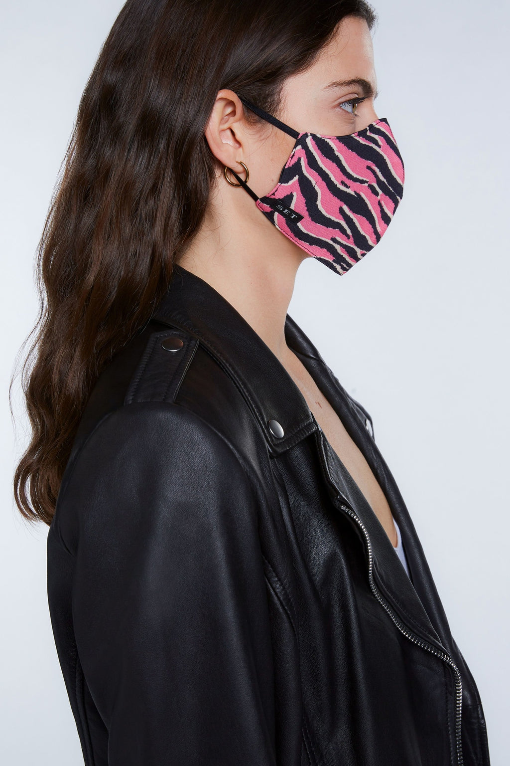 Mouth And Nose Mask Pink Tiger Print