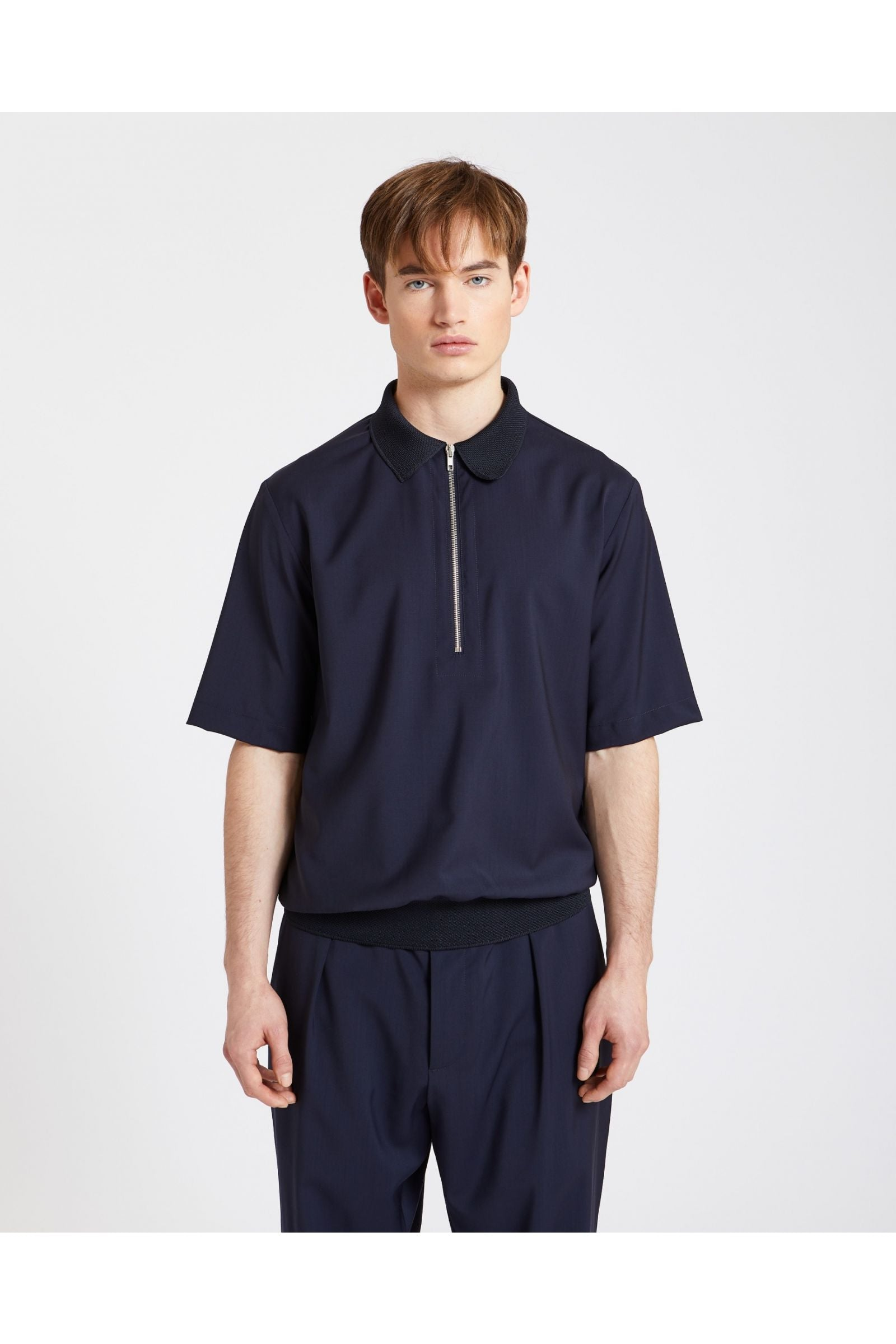 Navy Argo Tela Zip Polo Shirt