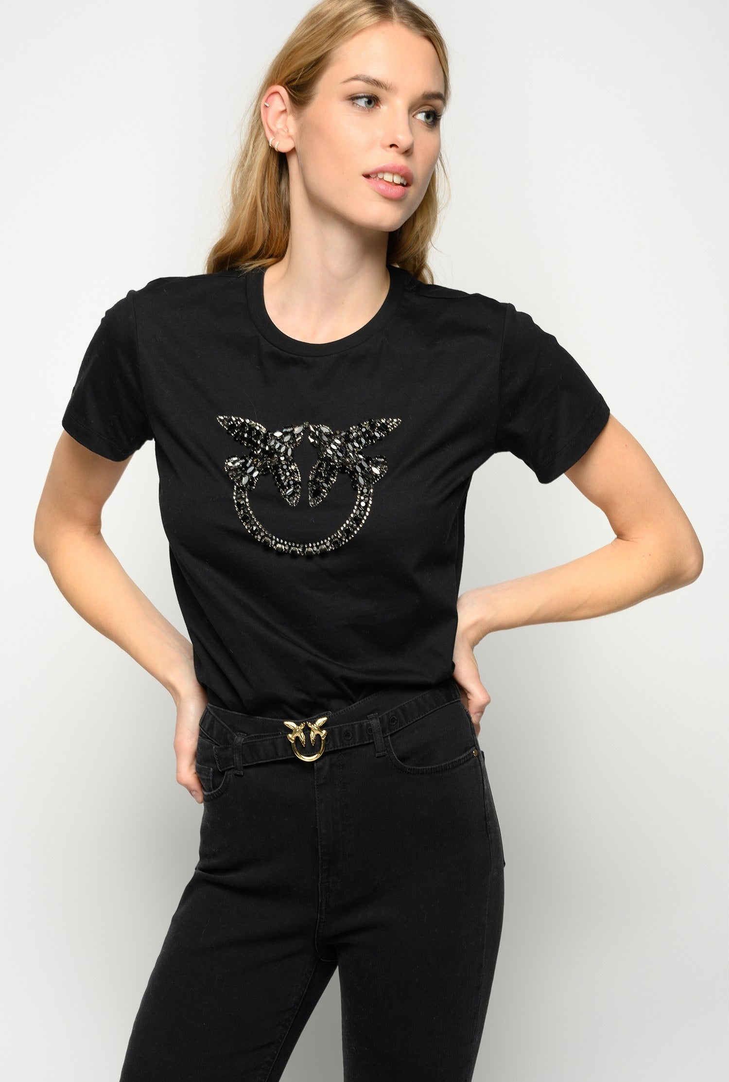 Black Love Birds Embroidery T-Shirt
