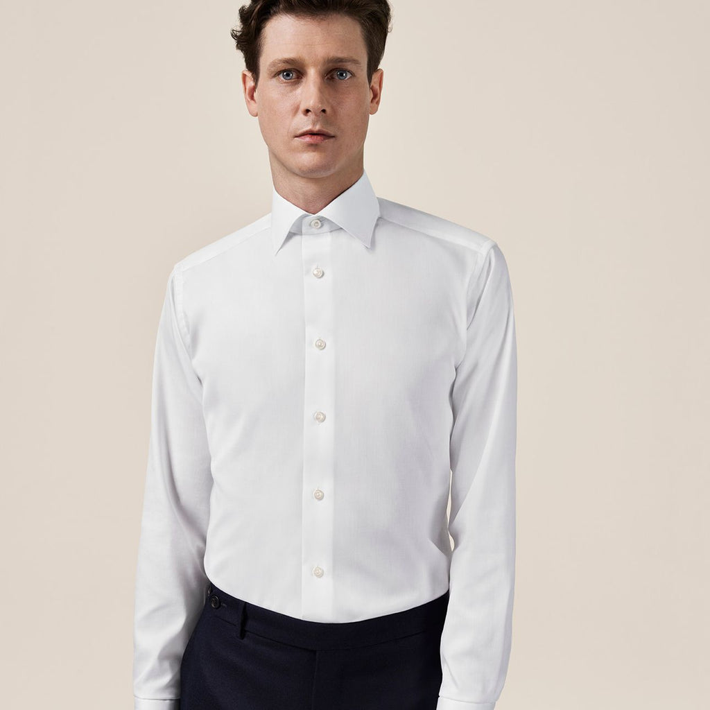 White Slim Fit Solid Twill Shirt