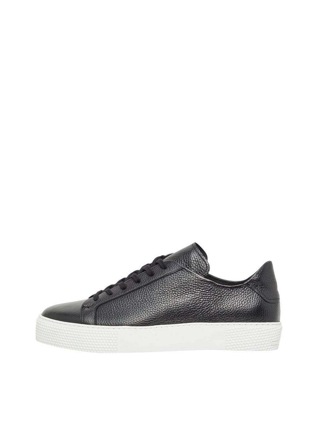 Black Signature Low Top Leather Sneaker