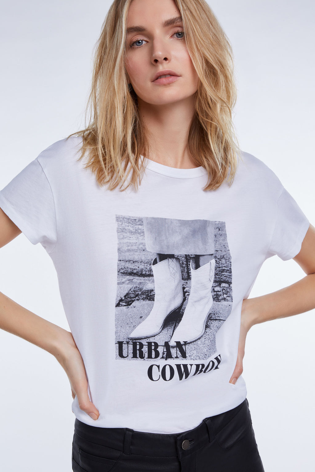 White Urban Cowboy Photo T-shirt