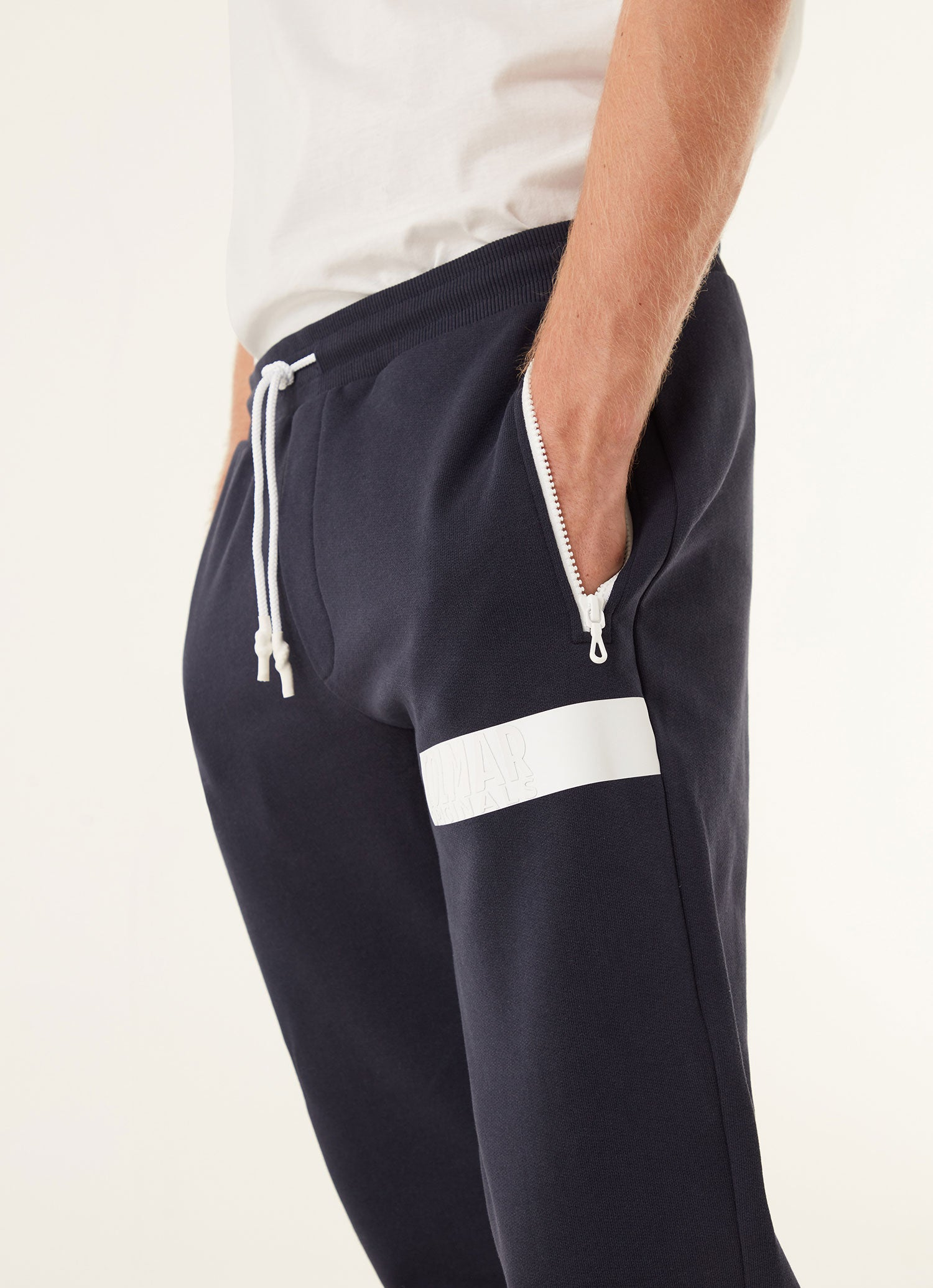 Nylon Sweat Pants With Stripe Logo