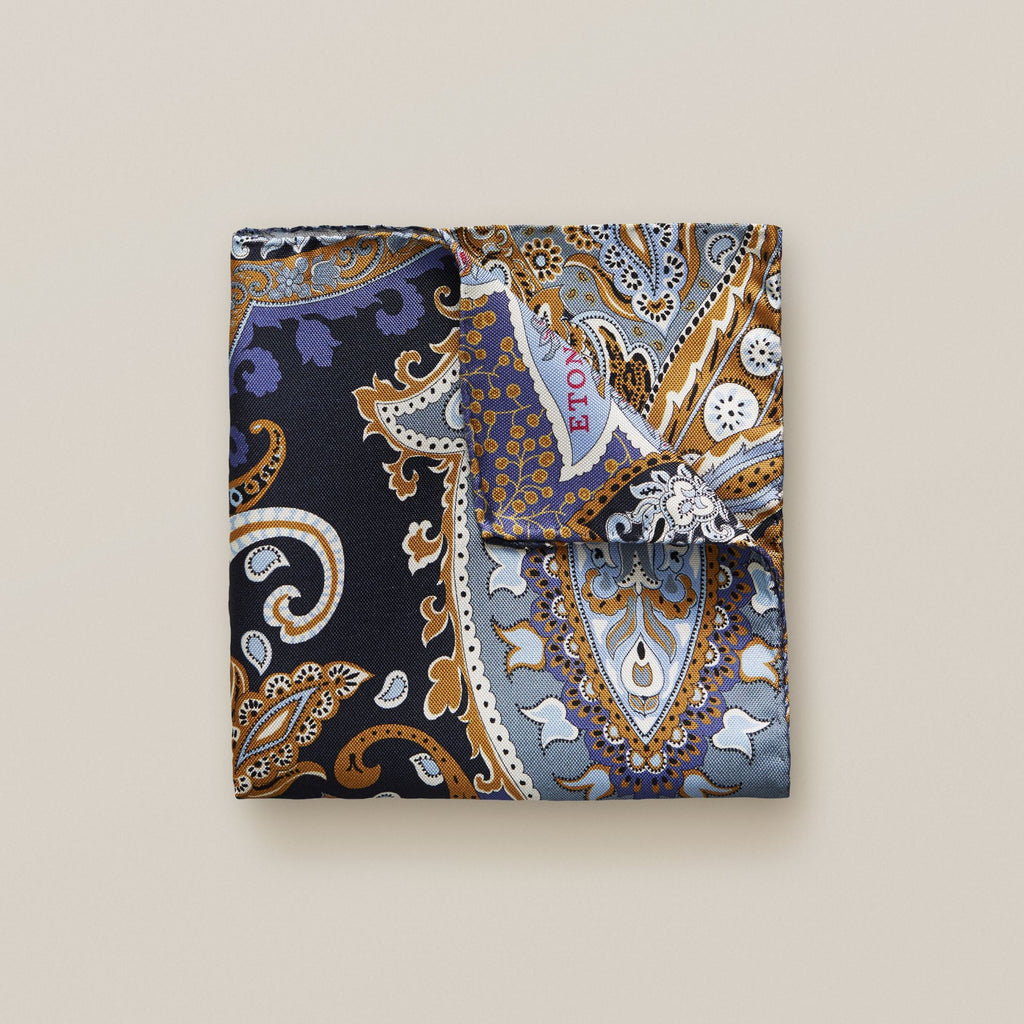Blue & Yellow Paisley Silk Pocket Square