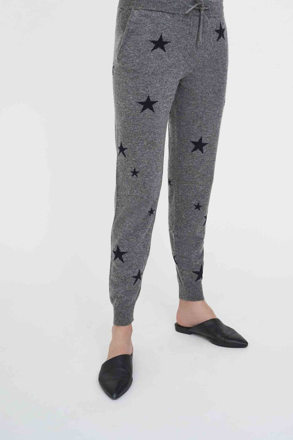 Grey Cashmere Star Track Pants